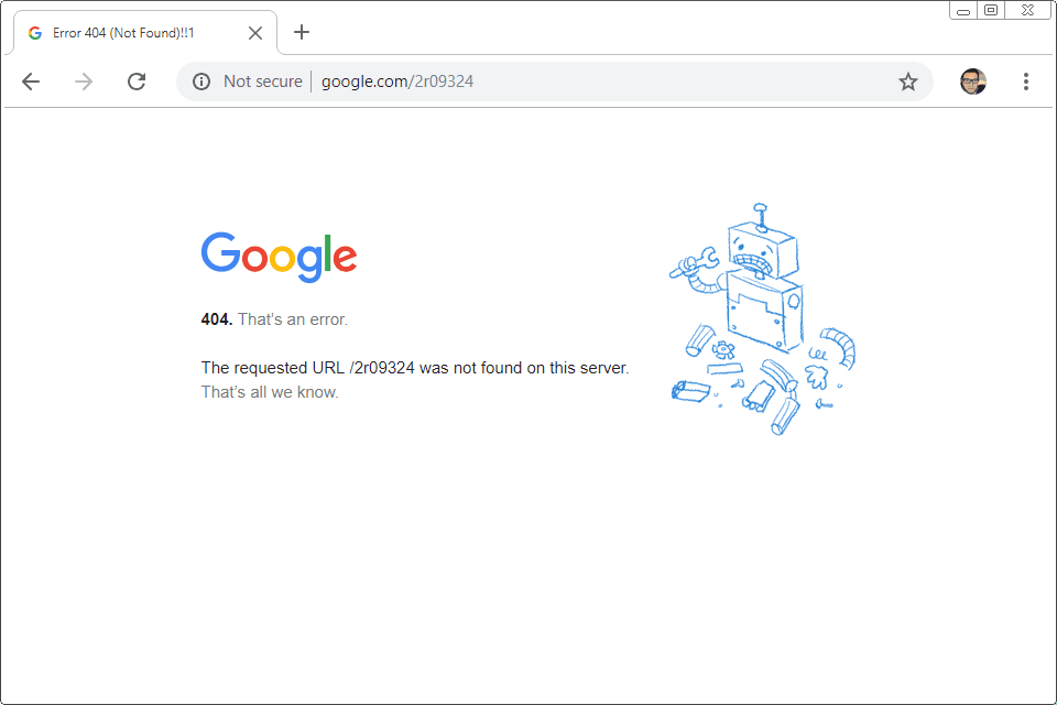 Example of Google's 404 page