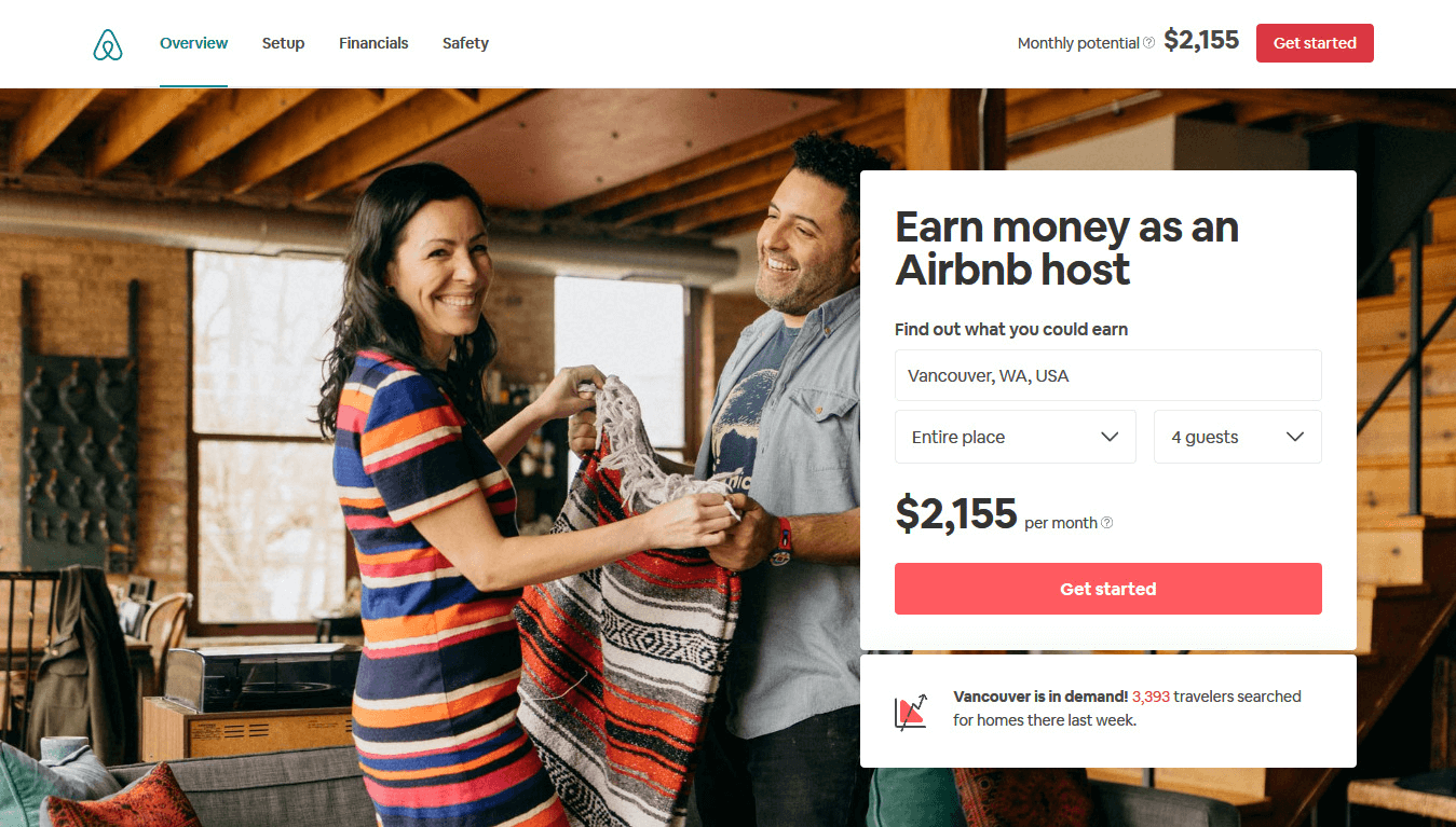 Airbnb's homepage is a great example of good CTAs