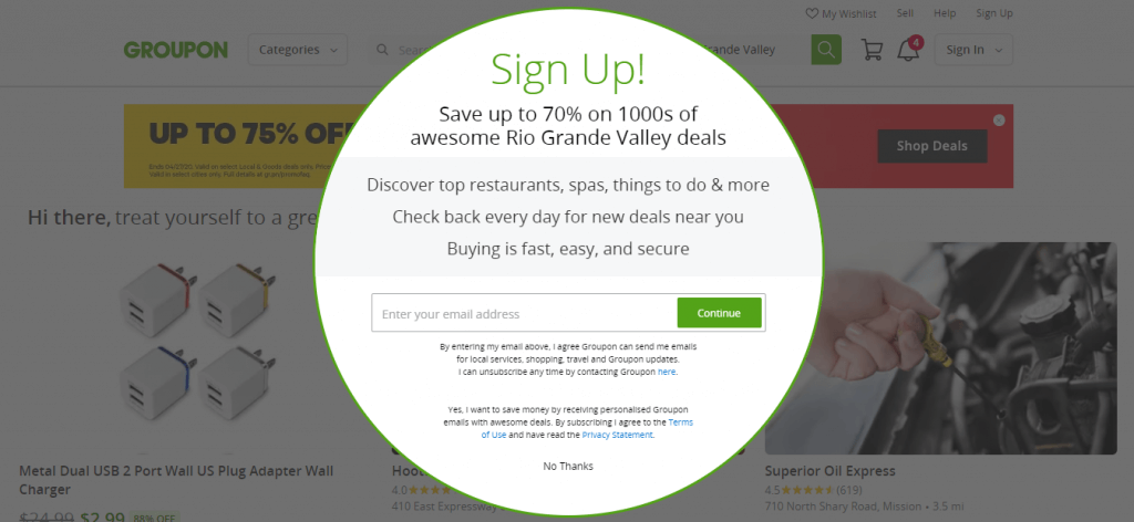 Groupon has a great landing page example